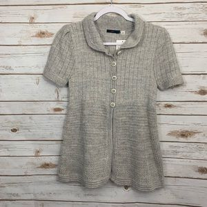 Lux Gray Button Knit Sweater Cardigan NWT